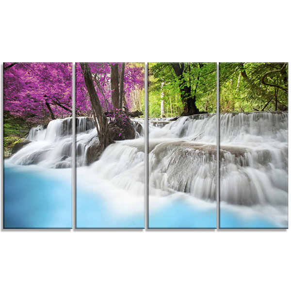 Design Art Erawan Waterfall Photography Canvas ArtPrint - 4 Panels