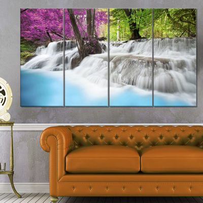 Designart Erawan Waterfall Photography Canvas ArtPrint - 4 Panels