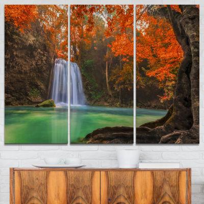 Designart Erawan Waterfall Orange Photography Canvas Art Print - 3 Panels
