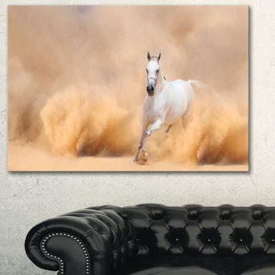 Designart Arabian Horse In Desert Storm Photography Canvas Art Print