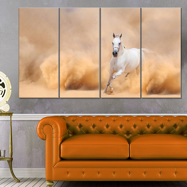 Designart Arabian Horse In Desert Storm Photography Canvas Art Print - 4 Panels