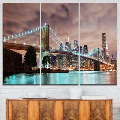 Designart New York City Panorama Cityscape Photography Canvas Print - 3 Panels