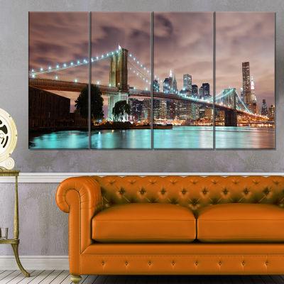 Designart New York City Panorama Cityscape Photography Canvas Print - 4 Panels