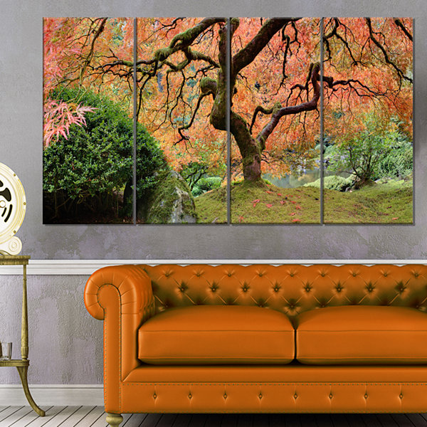 Design Art Old Japanese Maple Tree Landscape Photography Canvas Art Print - 4 Panels
