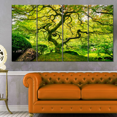 Designart Amazing Green Tree Photography Canvas Art Print - 4 Panels