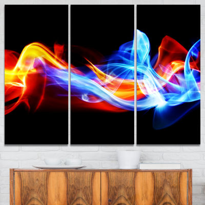 Designart Fire And Ice Abstract Canvas Print - 3Panels