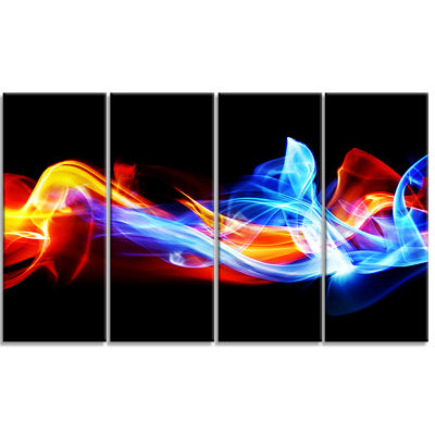 Design Art Fire And Ice Abstract Canvas Print - 4 Panels