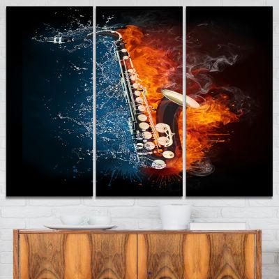 Designart Saxophone Music Canvas Art Print - 3 Panels