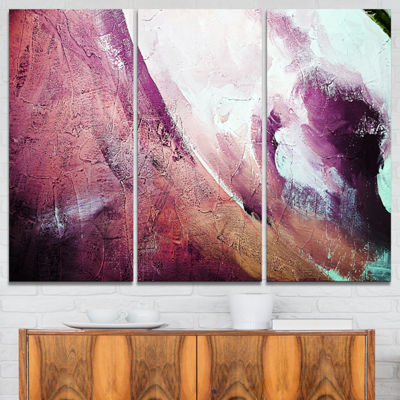 Designart White And Purple Texture Abstract CanvasArt Print - 3 Panels