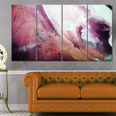 Designart White And Purple Texture Abstract Canvas Art Print - 4 Panels