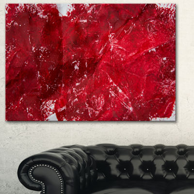 Designart Abstract Red Texture Abstract Canvas ArtPrint