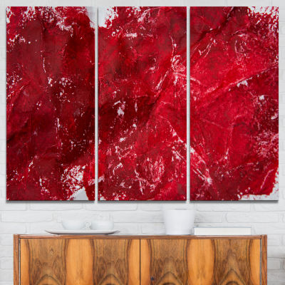 Design Art Abstract Red Texture Abstract Canvas ArtPrint - 3 Panels
