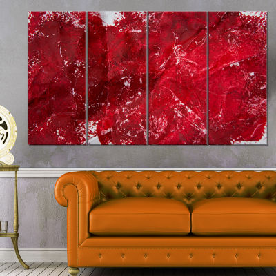 Designart Abstract Red Texture Abstract Canvas ArtPrint - 4 Panels