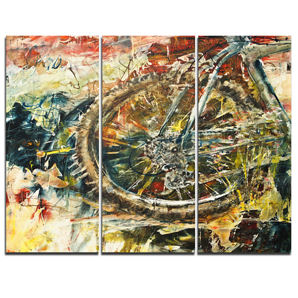 Design Art Mountain Bike Oil Painting Abstract Canvas Artwork - 3 Panels