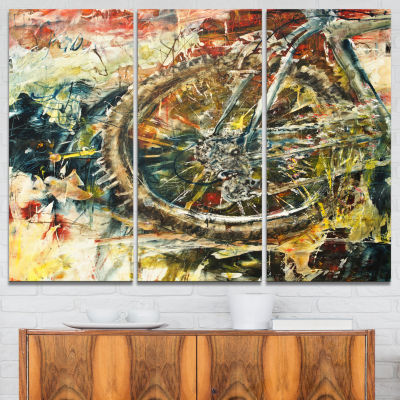 Designart Mountain Bike Oil Painting Abstract Canvas Artwork - 3 Panels