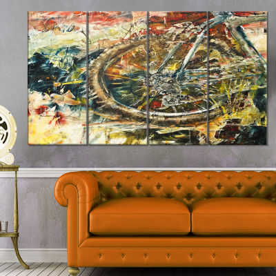 Design Art Mountain Bike Oil Painting Abstract Canvas Artwork - 4 Panels
