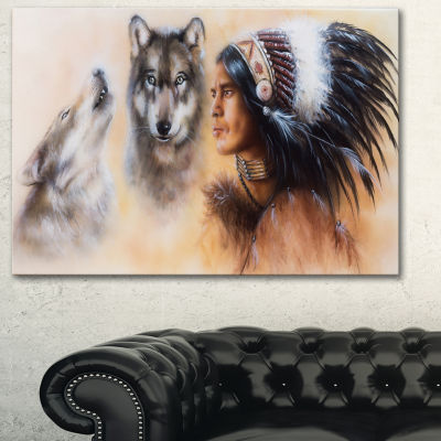 Designart Indian Warrior With Two Wolves Animal Art On Canvas