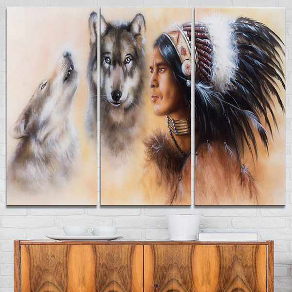 Design Art Indian Warrior With Two Wolves Animal Art On Canvas - 3 Panels