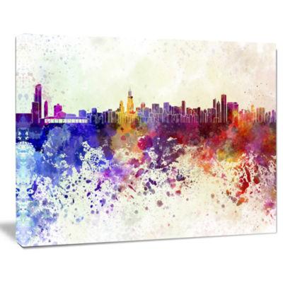Design Art Chicago Skyline Cityscape Canvas Art Print