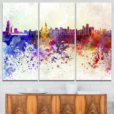 Designart Chicago Skyline Cityscape Canvas Art Print - 3 Panels
