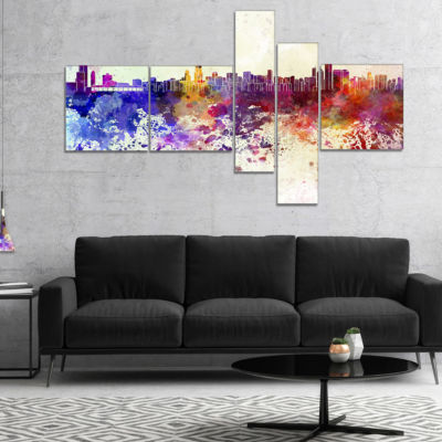 Designart Chicago Skyline Cityscape Canvas Art Print - 5 Panels