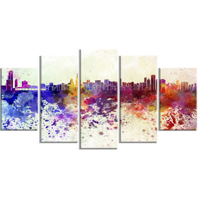Designart Chicago Skyline Cityscape Canvas ArtworkPrint - 5 Panels