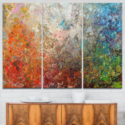 Designart Board Stained Abstract Canvas Art Print- 3 Panels