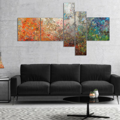 Designart Board Stained Abstract Canvas Art Print-5 Panels