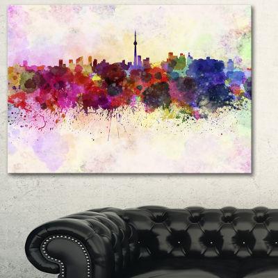 Designart Toronto Skyline Cityscape Canvas ArtworkPrint