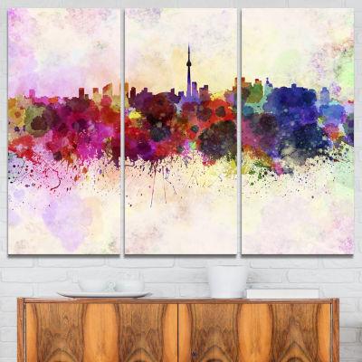 Designart Toronto Skyline Cityscape Canvas ArtworkPrint - 3 Panels