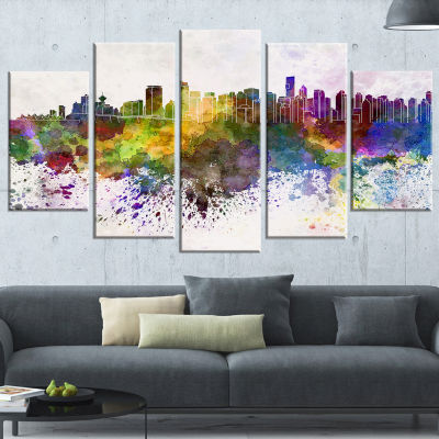 Designart Vancouver Skyline (373) Cityscape CanvasArtwork Print - 5 Panels