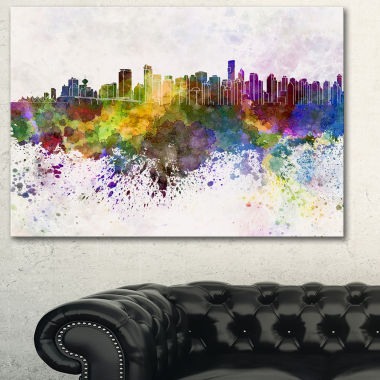 Design Art Vancouver Skyline Cityscape Canvas Artwork Print