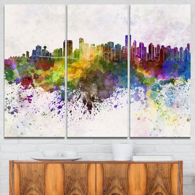 Designart Vancouver Skyline Cityscape Canvas Artwork Print - 3 Panels