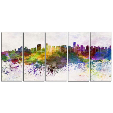 Designart Vancouver Skyline Cityscape Canvas Artwork Print - 5 Panels