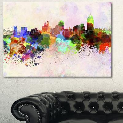 Designart Cincinnati Skyline Cityscape Canvas Artwork Print