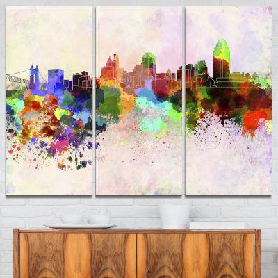 Designart Cincinnati Skyline Cityscape Canvas Artwork Print - 3 Panels