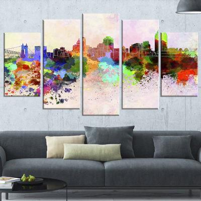 Designart Cincinnati Skyline Cityscape Canvas Artwork Print - 5 Panels