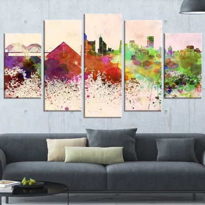 Designart Memphis Skyline (373) Cityscape Canvas Artwork Print - 5 Panels