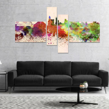 Designart Memphis Skyline Cityscape Canvas ArtworkPrint - 4 Panels
