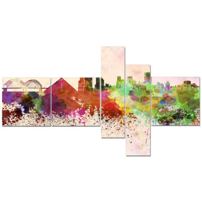 Design Art Memphis Skyline Cityscape Canvas Artwork Print - 5 Panels