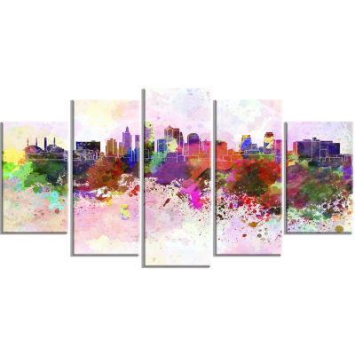 Designart Kansas City Skyline (373) Cityscape Canvas Artwork Print - 5 Panels