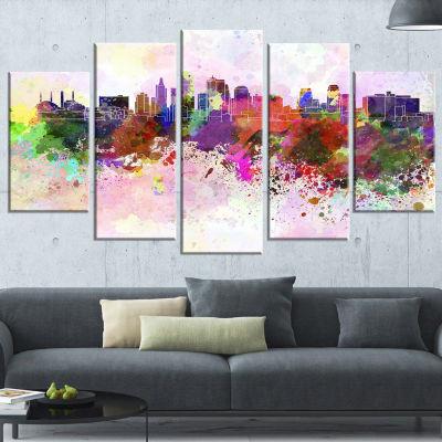 Designart Kansas City Skyline (373) Cityscape Canvas Artwork Print - 5 Panels