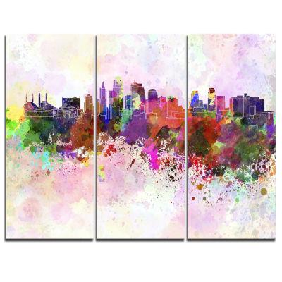 Design Art Kansas City Skyline Cityscape Canvas Artwork Print - 3 Panels