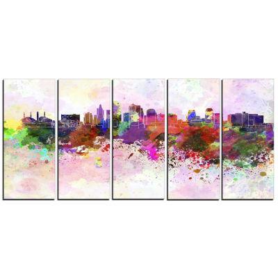 Designart Kansas City Skyline Cityscape Canvas Art work Print - 5 Panels