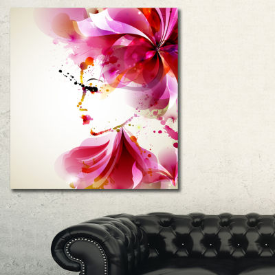 Designart Fashion Woman With Abstract Hair Abstract Canvas Art Print
