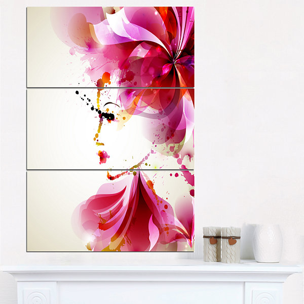 Designart Fashion Woman With Abstract Hair Abstract Canvas Art Print - 3 Panels