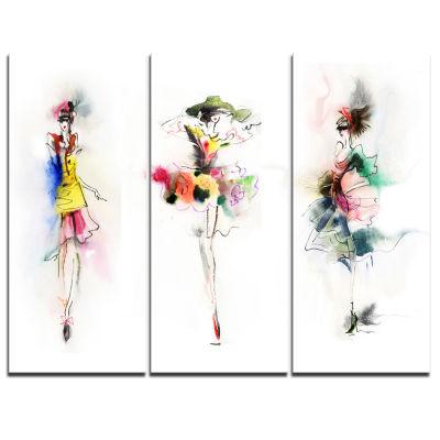Designart Fashion Girls Posing Contemporary Canvas Art Print - 3 Panels