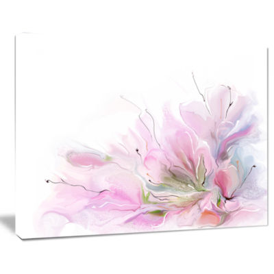 Design Art Lovely Pink Flowers Abstract Canvas Art