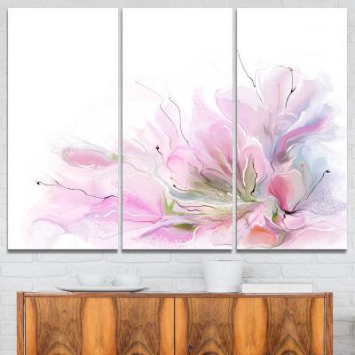 Designart Lovely Pink Flowers Abstract Canvas Art-3 Panels