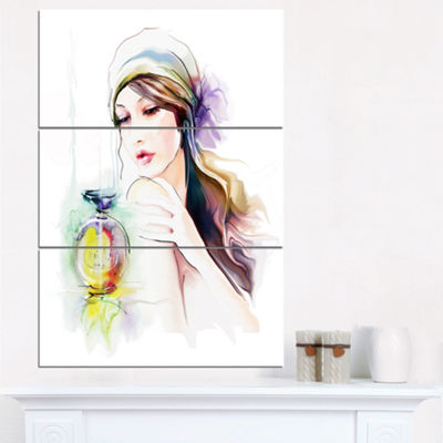 Designart Woman With Perfume Bottle Portrait Contemporary Canvas Art Print - 3 Panels